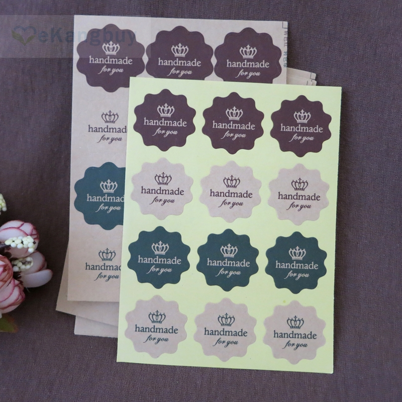 120pcs/10sheets Vintage Kraft Paper Handmade for you Stickers Party Favor Cookie Handmade Gift Labels