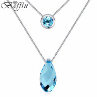Crystal From Swarovski 18 Gold Plated Necklace For Women Romantic Water Drop Jewelry Trendy Wedding Pendant