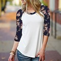 2017 Autumn Women Casual Leisure O Neck Vintage Floral Print Tee Tops Ladies Elegant 3/4 Sleeve T-shirt Blusas Plus Size S-XL
