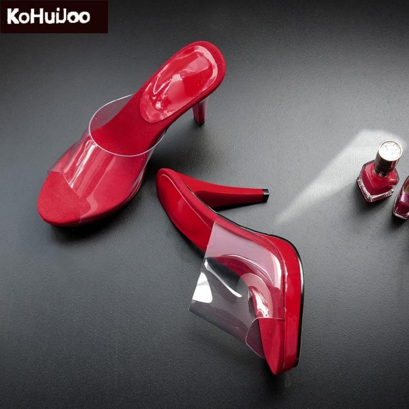 KoHuiJoo New Red Slides Platform Shoes Fashion 2018 Summer Shoes Thin Heel 9 Cm Super High Heels Slip on Ladies Slippers Women