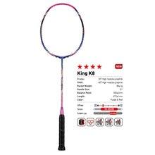 2018 kawasaki original raquete de badminton rei k8 ataque tipo t cabeça fullerene fibra carbono raquete para jogadores intermediários