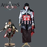 Assassins Creed 2 Ezio Auditore Negro Cosplay Traje de Fiesta de Halloween de Lujo Bordado Conjunto Uniforme Completo