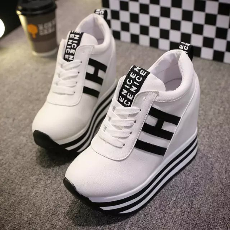 ФОТО 2017 Breathable Casual Shoes Women Shoes Lace Up Height Increasing 12cm High Platform Women's Shoes Trainer Sapato Feminino