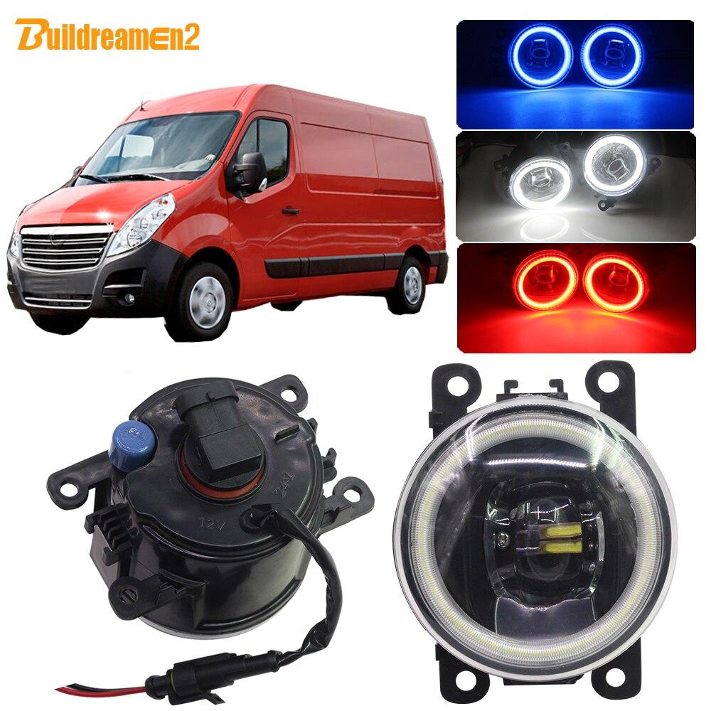 Buildreamen2 Car 4000LM LED Bulb Fog Light Lens Angel Eye Daytime Running Light DRL 12V Accessories For Opel Movano 2000-2010