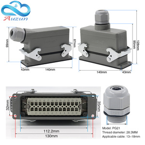 Image 2 - Rectangular H24B   HE   024 1 heavy duty connectors 24 pin  line 16 a500v screw feet of aviation plug on the side