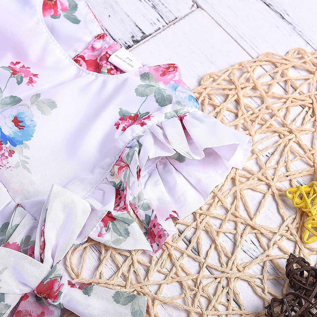 Summer New Fashion Newborn Baby Girls Ruffle Floral Print Bow