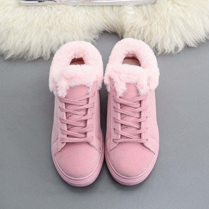 Women Flats For Winter Plush Warm Shoes Casual Flat Heels Lace Up Ladies Shoes Size 35-40 Black Gay Pink Fashion Fur Shoes NX5 (22)