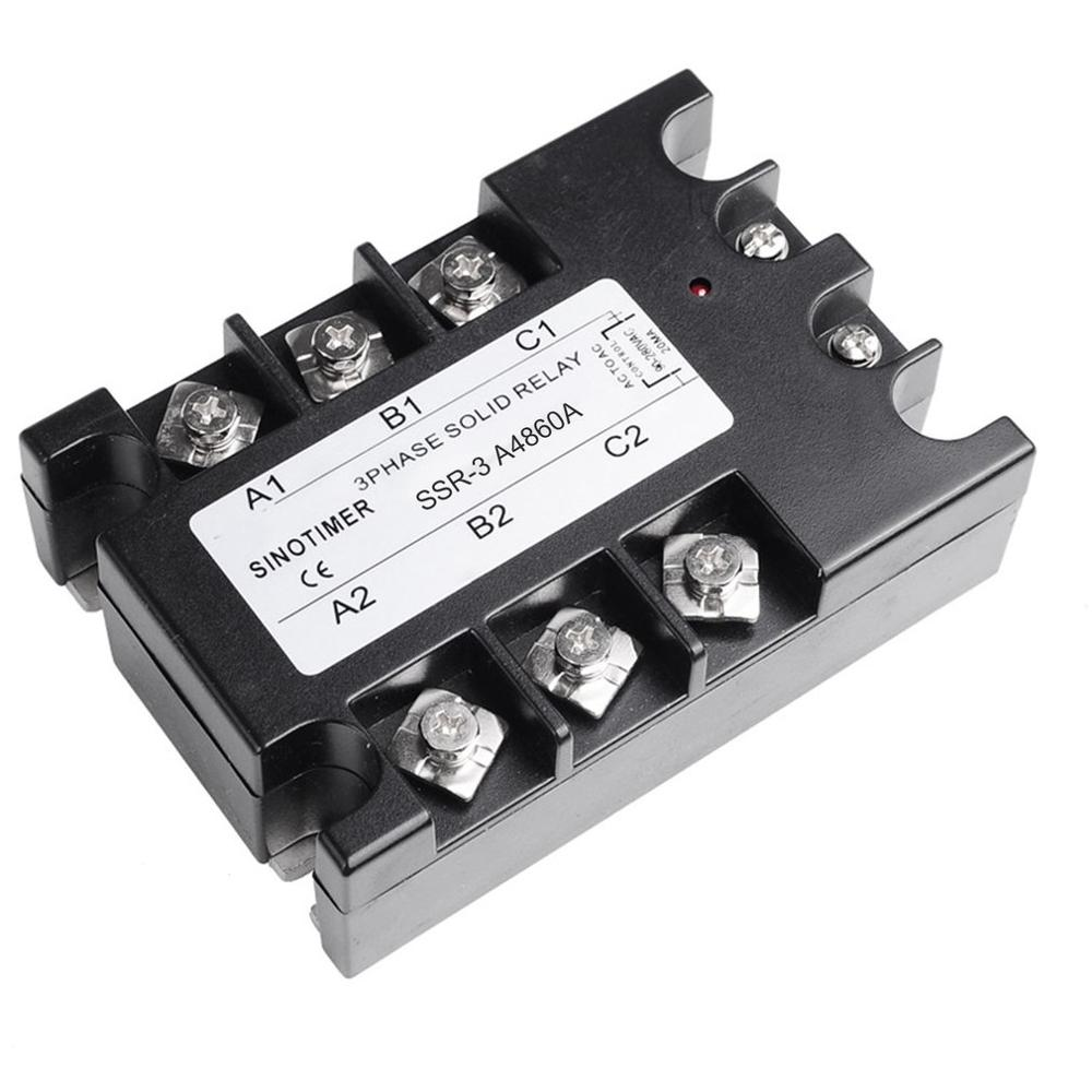 Solid State Relay AC-AC SSR-3A4810A 25A 40A 60A 80A 100A 90-280VAC TO 30-480VAC Load Three Phase for Temperature ControlSolid State Relay AC-AC SSR-3A4810A 25A 40A 60A 80A 100A 90-280VAC TO 30-480VAC Load Three Phase for Temperature Control