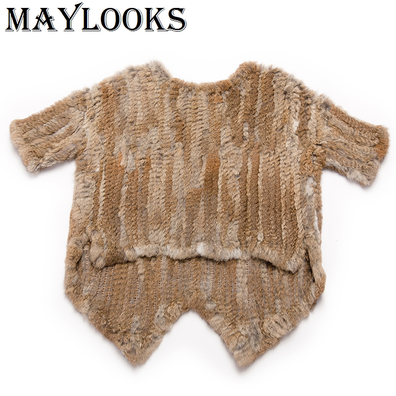 2018 Real Fur Maylooks O-neck Knitted Knit New Real Rabbit Fur Coat Overcoat Jacket Women's Genuine Half Sleeve Pullover Cs104 rabbit print pullover