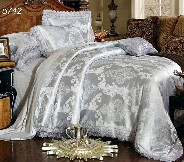 silver gray grey modal silk bedding sets tencel lace 4pcs bed sets king queen bed linens - Silk Bedding