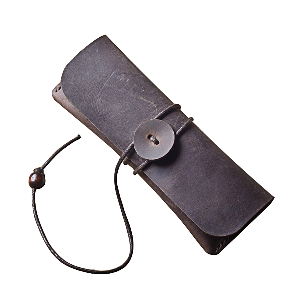 PASSION juneTree brown genuine leather handmade coin pouch Vintage Pen Pencil Case Coin Purse Pouch Cosmetic handmade Bag mint student navy canvas pen pencil case coin purse pouch bag jun01