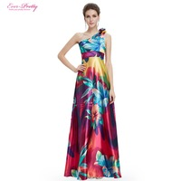 HE09623 Free Shipping One Shoulder Floral Printed Flower Satin Evening Dress