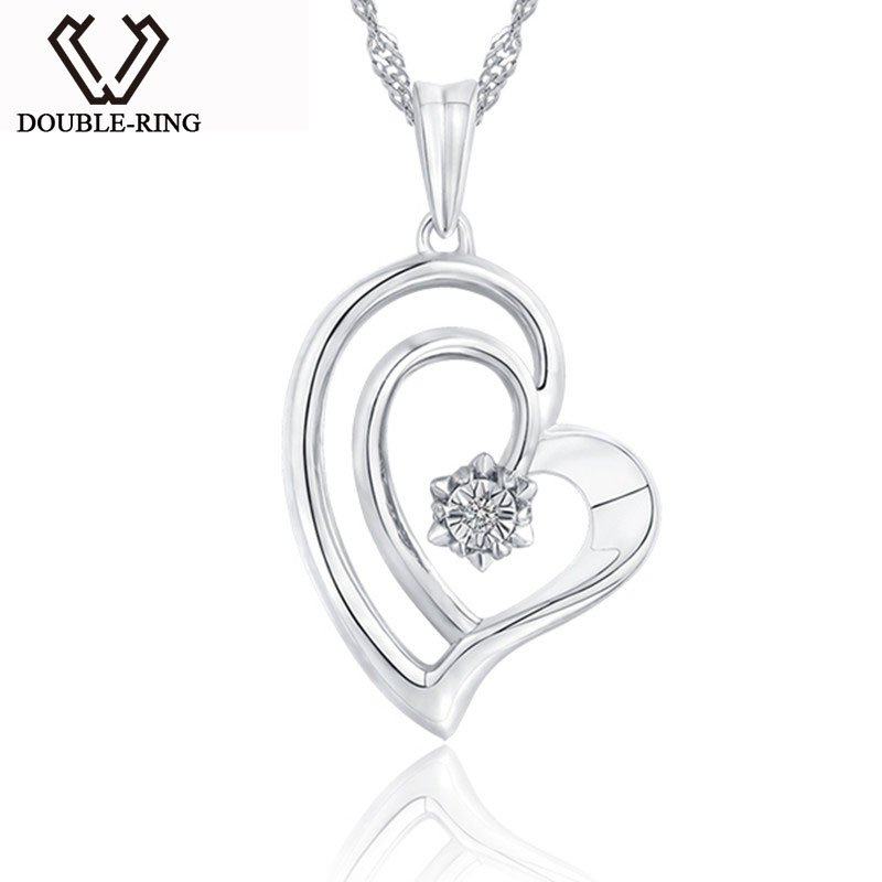 DOUBLE-R Real 0.01ct Diamond Heart Pendants Women 925 Sterling Silver Necklaces Love Gift Fine Jewelry Customized CAP03748SA-1 double r women necklace pendants 0 03ct diamond 925 sterling silver pendants with long chains diamond jewelry cap03755sa 1