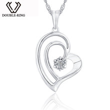 DOUBLE-R Real 0.01ct Diamond Heart Pendants Women 925 Sterling Silver Necklaces Love Gift Fine Jewelry Customized CAP03748SA-1