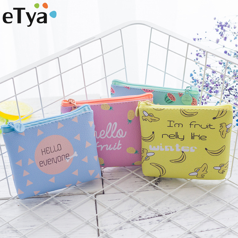 eTya Brand Women Wallet Cartoon Coin Purse Small Fresh Summer Party Cat Headset Line Zipper purses Card Bag Cute children's Gift dollar price women cute cat small wallet zipper wallet brand designed pu leather women coin purse female wallet card holder