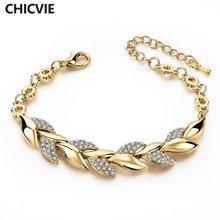 Женский браслет с камнями chicvie роскошный золотистого цвета