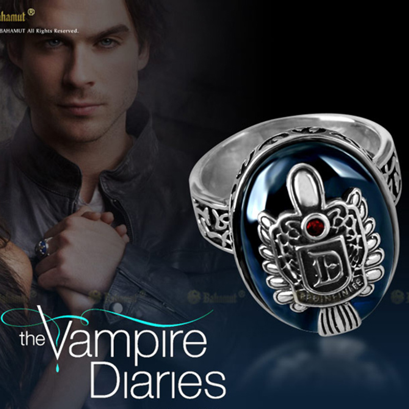The Vampire Diaries Salvatore Damon Ring D 925 Sterling Silver Ring With Blue Lapis for Men Boy Cosplay Gift Party Show Jewelry the vampire diaries vampire knight crown ring jewelry gift men s ring gift jewelry 925 sterling silver ring