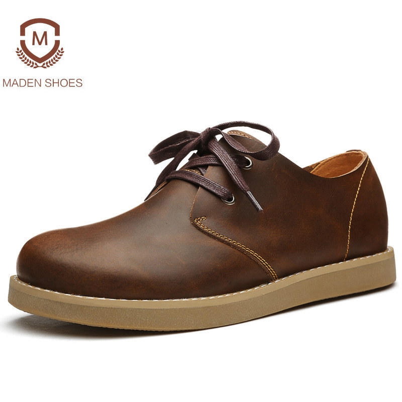 Maden 2018 Spring Summer Genuine Leather Men Leather Casual Shoes British Style Leisure Sneakers Fashion Classic Zapatos Hombre the spring and summer men casual shoes men leather lace shoes soled breathable sneaker lightweight british black shoes men