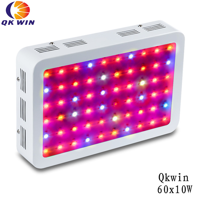 Qkwin 600W Double Chip LED Grow Light 60x10W Full Spectrum 410-730nm For Indoor Plants and Flower with Very High Yield 3pcs lot double chip qkwin 600w led grow light 60x10w double chip full spectrum for hydroponic planting shipping