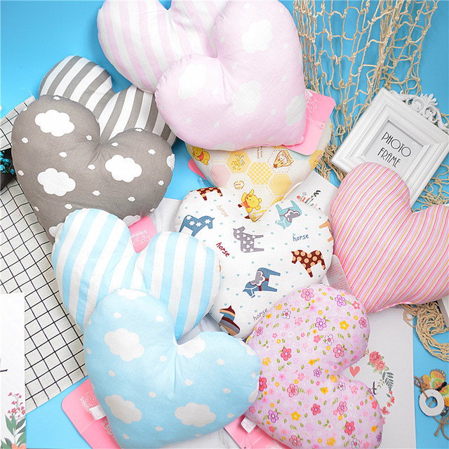 Sweet Heart Shape Baby Pillow Soft Newborn Pillows Room Decoration Cotton Bedding Decor Cushion Almofada Infantil