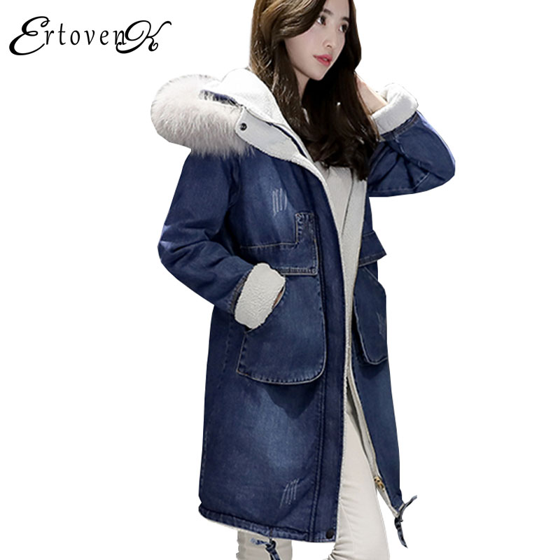 Winter Women Denim Cotton Jacket 2017 New Hooded Thick Plus size Long Outerwear High Quality Wool Collar Warm Femmes Coats Y16 plus size cotton coats 2017 new women loose clothing winter thick jacket long sleeve top hooded outerwear abrigos mujer lh010