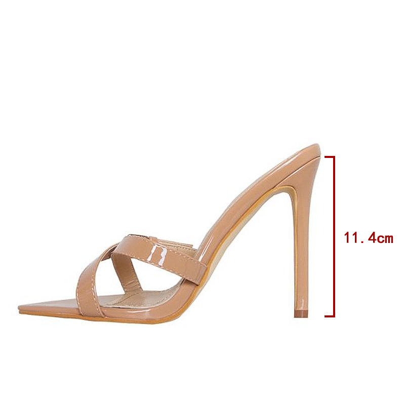 Shoes Woman Sandals Thin High Heels 2019 Summer New Mujer Slippers Women Fashion Party shoes Open Toe Outside Mules Shoes in Slippers from Shoes