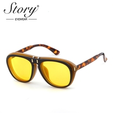 STORY 2018 New Brand Vintage Steampunk Toad Sunglasses Oval Oversize Designer