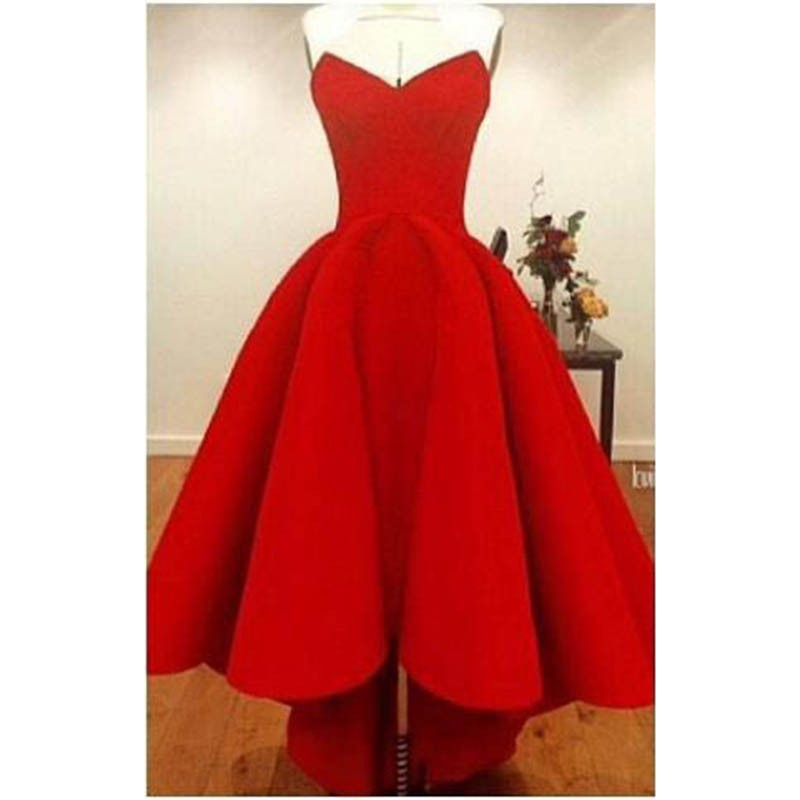 2016-High-Low-Red-Prom-Dresses-Sexy-Strapless-Cheap-Satin-Short-Front-Long-Back-Party-Dress (1)