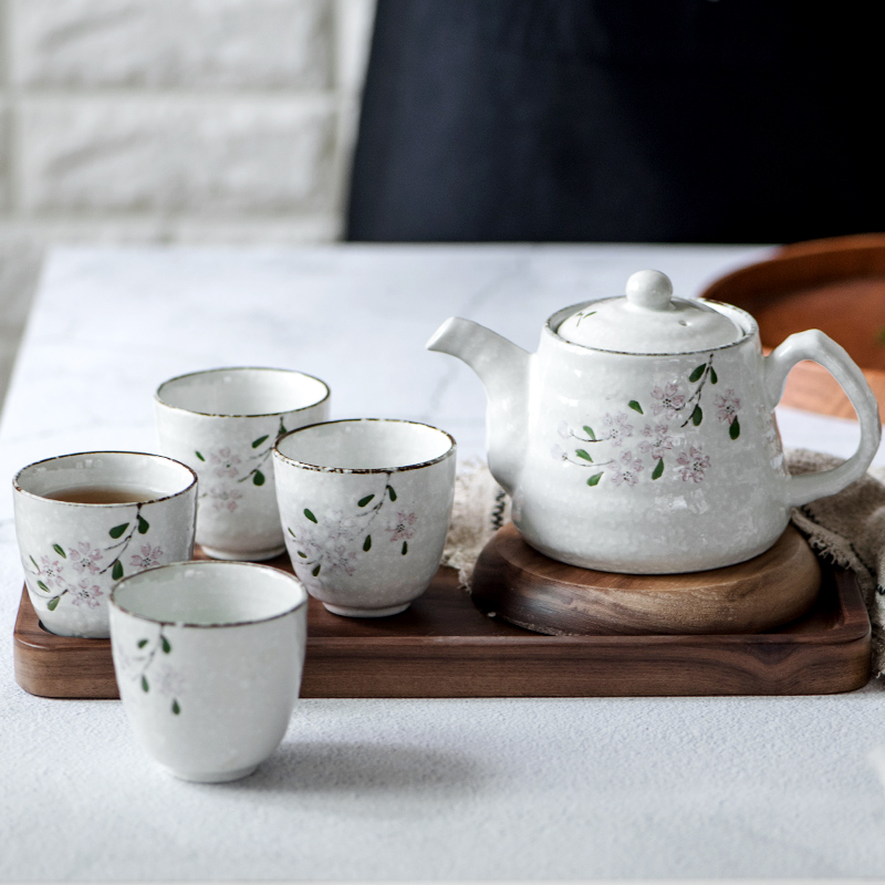 Set of Japanese Ceramic Sakura Tea Pot Tea Cup Water Cup Cherry Blossom Porcelain Kettle Teaware