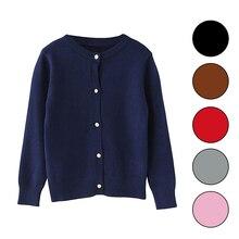 Весенний Кардиган для девочек; свитера для детей школьная Униформа вязаный свитер, для детей ясельного возраста, для маленьких девочек, одежда с длинными рукавами, на 2, 3, 4, 5, 6 лет