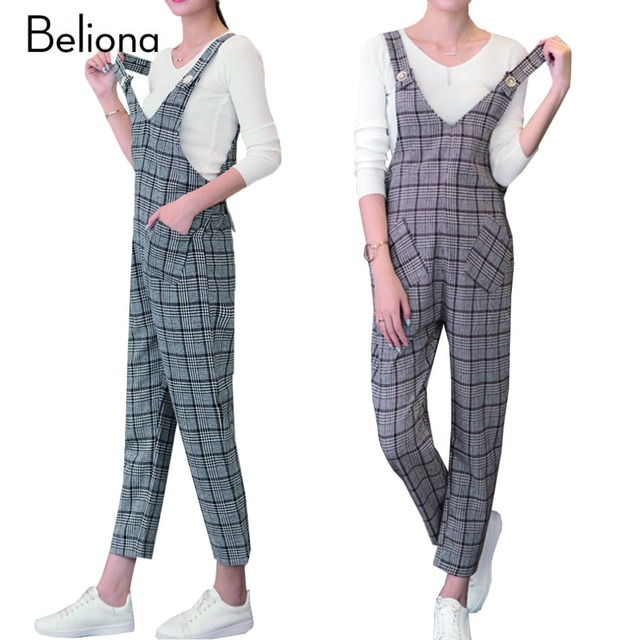 2017 New Autumn Plaids Maternity Jumpsuit Overalls for Pregnant Women Plus Size Women's Clothing Cotton Linen Pregnancy Pants