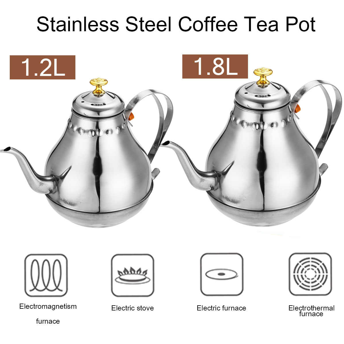 1.2/1.8L Coffee Pot Stainless Steel Water Kettle for Tea/Milk/Flower Teapot with Filter suit for Electric Stove/Gas Stove Gift