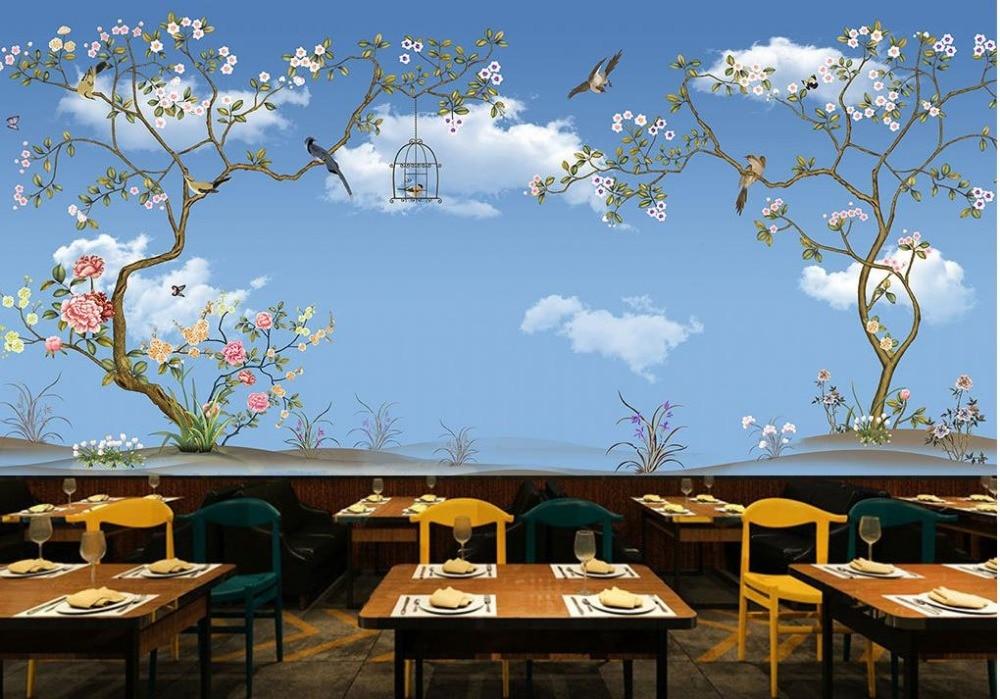 Пользовательские 3d обои голубое небо и белые облака Дерево Птица индивидуальные обои для росписи стен 3d обои - 3