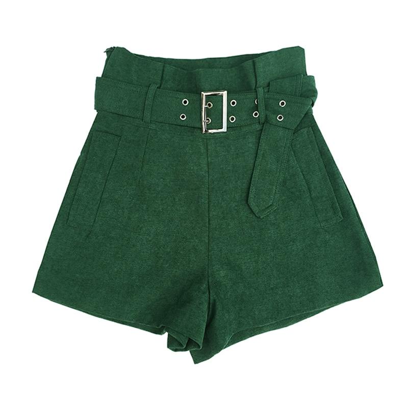 MUMUZI High Waist Wide Leg Shorts With Free Belt Women High Street Casual Slim Shorts Fashion Green Short Trousers 2020 2XL Size