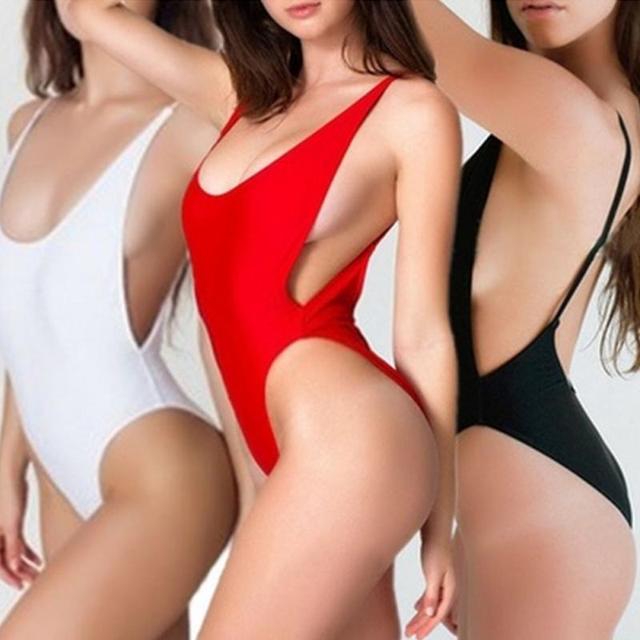 One-Piece bikini suit summer Pure Color Sexy Padded Women Swimsuit Bandeau Swimming Suit maillot de bain