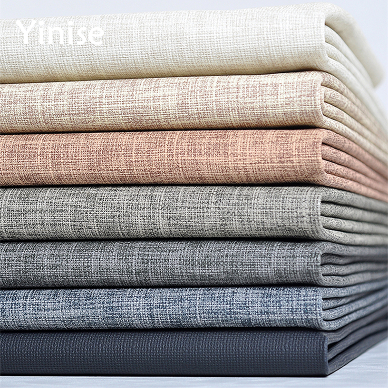 100x138cm Synthetic Leather Linen Patten PU Fabric DIY Wall Background Fabrics Home Decoration Sofa Sewing Material