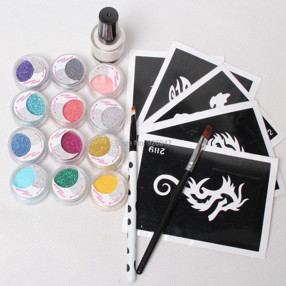 5 pcs stencils 12color glitter powder glue brushes for Supplies for tattooing
