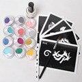 5 Pcs Stencils & 12color Glitter Powder Glue Brushes Tattoo Kits for Boys/Girls