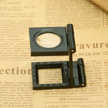 Portable 12x Magnification Magnifier Lupa Optical Lenses Woodworking Measuring Accessories Foldable Magnifying