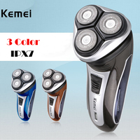 IPX7 Washable 100 240V Electric Shaver Kemei Shaver Triple Floating Blade Heads Shaving Machine Face Care