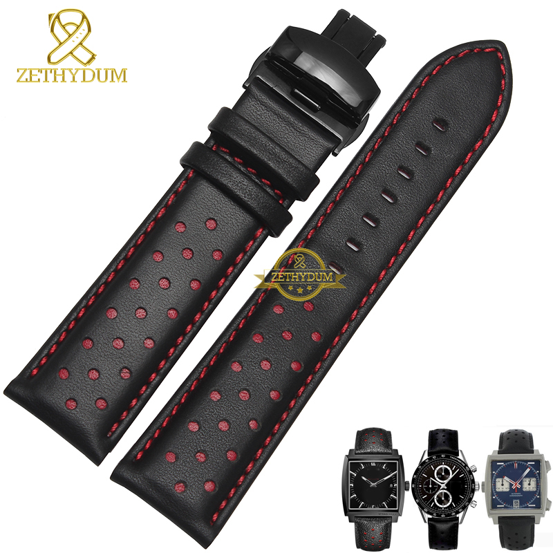 Genuine Leather Bracelet Watchband 20 22mm mens watch strap Folding clasp black whit red blue stitched wrist watches accessories high quality genuine leather watchband 22mm brown black wrist watch band strap wristwatches stitched belt folding clasp men
