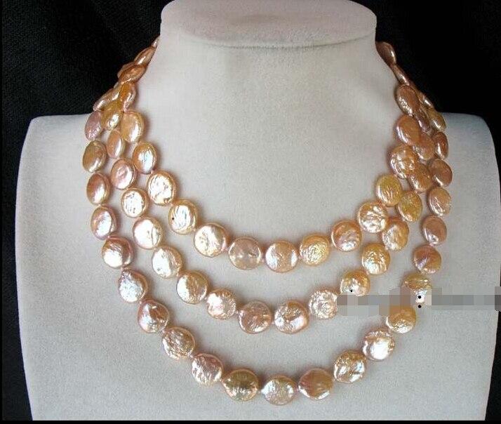 Vente chaude LIVRAISON GRATUITE d'eau douce perle rose coin 10-11mm collier 45