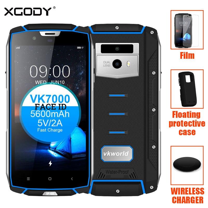 Vkworld VK7000 Viso ID IP68 Acqua Antiurto Smartphone 5.2 ''4GB di RAM + 64 gb di ROM OTG 16MP + 13MP 5600 mah Impronte Digitali 4g Del Telefono Cellulare