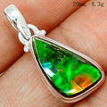 Genuine Canada Ammolite Pendant 100 925 Sterling Silver Jewelry 29mm AP0957