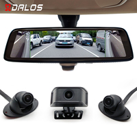 SZDALOS 4CH Blind Spot Rear View Mirror/ 10 Full Touch Screen Electronic Mirror/Side blind spot Visible / 4 Lens Recording