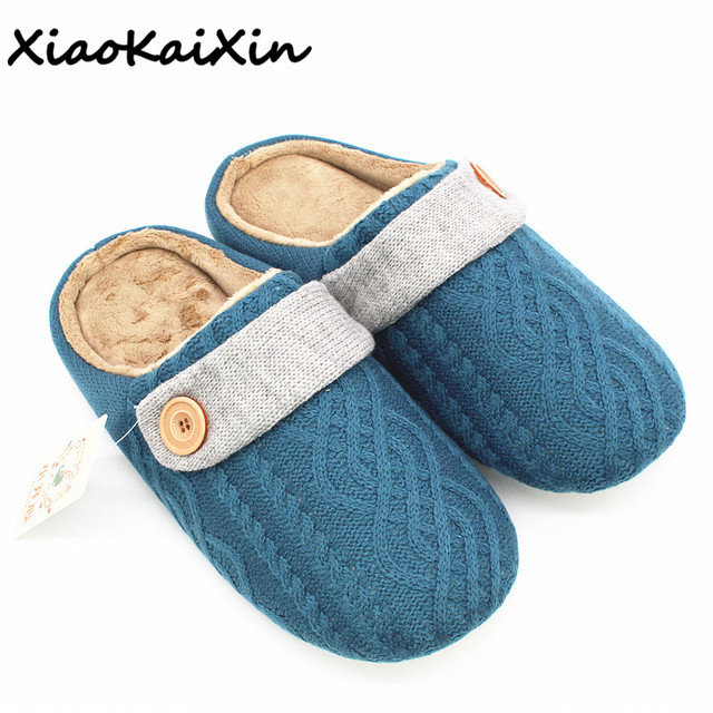 26a27a4c75f218 XiaoKaiXin Winter Warm Cotton Home Slippers Women Men Candy Mixed Colors  Knit uppers Plush House Shoes PU Nonslip Buckle flats