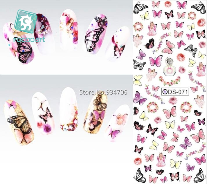 Rocooart DS071 Nail Design Water Transfer Nails Art Sticker Colorful Butterfly Nail Wraps Sticker Watermark Fingernails Decals ds300 2016 new water transfer stickers for nails beauty harajuku blue totem decoration nail wraps sticker fingernails decals