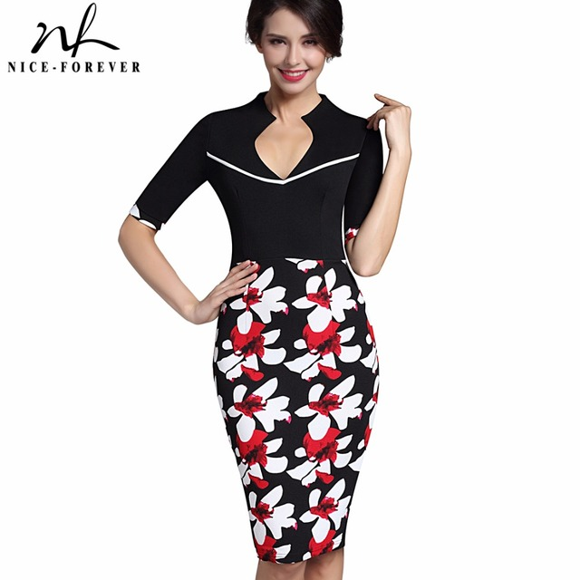 Nice-forever Vintage Flower Print Elegant Casual Work Half Sleeve Sexy Deep V-Neck Bodycon Knee Women Office Pencil Dress B322