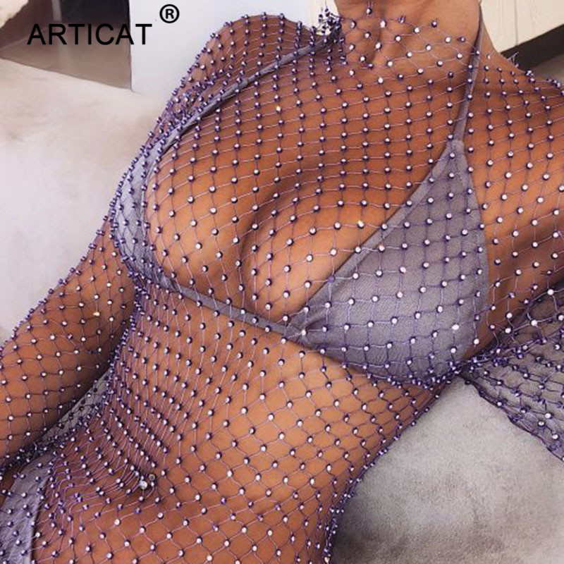 Articat Crystal Diamond Rhinestones Sexy Mini Dress Women Hollow Out Summer Beach Dress Fishnet Mesh Party Dress Short Vestidos
