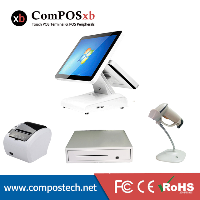 New Price whole set POS system dual touch screen 15+12inch touch cash register POS machine with printer/cash drawer/barcode scanner